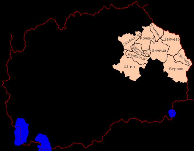 Карта на Источен плански регион