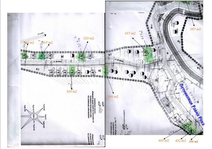 Скица на 10-те градежни парцели на туристичката населба ,, Равна Река ''