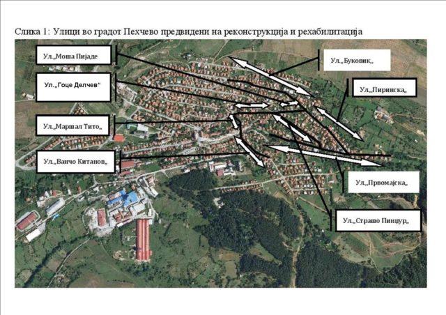 Во Пехчево започна одбележувањето на трасата на 8те улици во градот, а наскоро се очекува да почнат и градежните работи за реконсрукција на истите